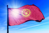 Kyrgyzstan flag waving on the wind — Stock Photo