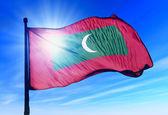 Maldives flag waving on the wind — Stock Photo