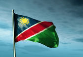 Namibia flag waving on the wind — Stock Photo