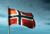 Norway flag waving on the wind — Stock Photo