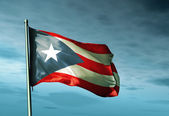 Puerto Rico flag waving on the wind — Stock Photo