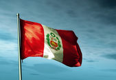 Peru flag waving on the wind — Stock Photo