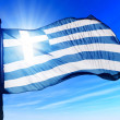 Greece flag waving on the wind — Stock Photo #44223091