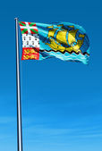 Saint Pierre and Miquelon flag waving on the wind — Stock Photo