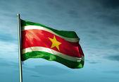 суринам флаг развевается на ветру — Стоковое фото