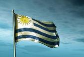 Flaga Urugwaju na wiatr — Zdjęcie stockowe