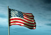 United States flag waving on the wind — Foto Stock