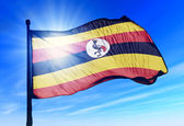 Uganda flag waving on the wind — Stock Photo