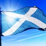 Scotland flag waving on the wind — Stock Photo #45037673