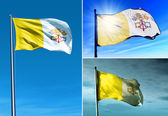 Vatican City flag waving on the wind — Stock Photo