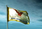 San Francisco (USA) flag waving on the wind — Stock Photo