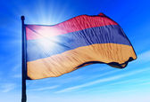 Armenia flag waving on the wind — Stock Photo