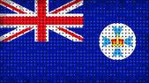 Flag of Australian state of Queensland lighting on LED display — Zdjęcie stockowe