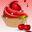 Cherry cup cake — Stock Vector