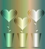 Pots hearts — Stock Vector