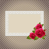 Roses and polka dot patterned invitations — ストックベクタ