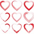 Collection of red hearts. Vector illustration — ストックベクタ