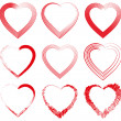 Collection of red hearts. Vector illustration — Stockvektor
