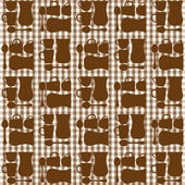 Cups, tea cups and teaspoons seamless repeat pattern — Vettoriale Stock