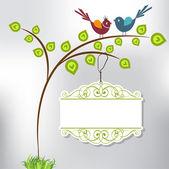 Tree, birds and tag — Vetorial Stock