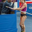 DONETSK, UKRAINE - FEB. 09: Ptacnikova Jirina. The czech pole vaulter listens to his coach — Stock Photo