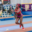 DONETSK,UKRAINE-FEB .09: Yarisley Silva. The silver prize-winner of Olympic Games 2012 in the pole vault takes running start with a pole on Samsung Pole Vault Stars meeting — Stock Photo