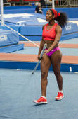 DONETSK,UKRAINE-FEB .09: Yarisley Silva - The silver prize-winner of Olympic Games 2012 in the pole vault comes with a pole in hand on Samsung Pole Vault Stars meeting — Stock Photo