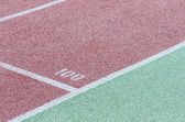 Track and field stadium. The markup on the racetracks. — Stockfoto