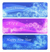 Set of three winter banners with snowflakes — Stock Vector
