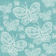Seamless pattern, butterflies white silhouettes on blue background. — Stok Vektör