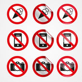 No photography, no ice cream, no phone signs. — Stock Vector