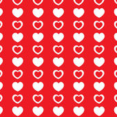 Red stylish pattern with white hearts. — Stockvektor