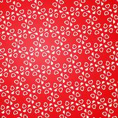 Красный Стильный шаблон с белыми сердечками. — Cтоковый вектор