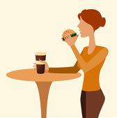 Girl in cafe — Stock Photo