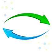Green, blue arrow 3D. — Stock Photo