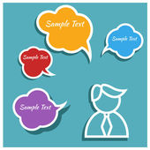 People icons with colorful dialog speech bubbles — Stock Photo