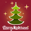 Merry Christmas lettering green tree background, vector illustration — Stock Photo
