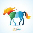 Vector triangle horse. Abstract horse of geometric shapes. horse. Christmas, New Year card, illustration with horse. Holiday design. Symbol of 2014. Winter. Backdrop. Gradient. — Stock Photo #33642981