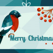 Christmas vector illustration - bullfinch with ashberries sitting, geometry — Foto de Stock