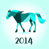 Horse from abstract geometric shape vector background. 2014 Happy new year. — Stock Photo