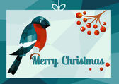 Christmas vector illustration - bullfinch with ashberries sitting, geometry — Stock Photo