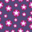 Seamless pattern with fantastic lilac flowers. Vector background with ornamental natural elements. Decorative illustration. — Stock Photo