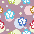 Seamless floral spotty vivid pattern with colorful flowers (vector) — Stok fotoğraf