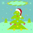 Vector illustration of decorated Christmas tree on a winter landscape. — Foto Stock
