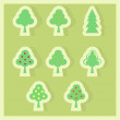 Set of trees vector illustrations - fir, orange, trees — Stockfoto
