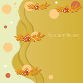 Autumn card with red rowan berry, vector illustration — Stock Photo