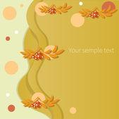 Cartão de outono com baga vermelha rowan, ilustração vetorial — Foto Stock