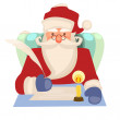 An illustration of Father Christmas or Santa Claus checking his Christmas list or replying to childrenâ??s letters — Stok fotoğraf