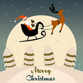 Santa's Ride Santa Claus takes off from the North Pole with his eight tiny reindeer. EPS 8 vector grouped for easy editing. — Stock Photo