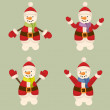Christmas set collection of three snowmen isolated on white background traditional illustration vector mesh illustration — Stock Photo #34596727